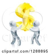 Clipart Of A Team Of 3d Silver Men Carrying A Giant Gold USD Dollar Symbol Royalty Free Vector Illustration