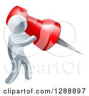 Clipart Of A 3d Silver Man Carrying A Giant Red Pin Royalty Free Vector Illustration