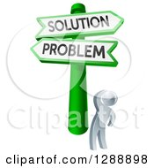 Clipart Of A 3d Silver Man Looking Up At Problem And Solution Crossroads Signs Royalty Free Vector Illustration by AtStockIllustration