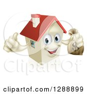 Clipart Of A Happy House Character Holding A Thumb Up And A Dollar Money Bag Royalty Free Vector Illustration