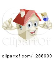 Clipart Of A Happy House Character Holding A Thumb Up And A Paintbrush Royalty Free Vector Illustration