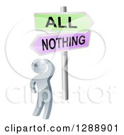 Clipart Of A 3d Silver Man Looking Up At An All Or Nothing Crossroads Sign Royalty Free Vector Illustration