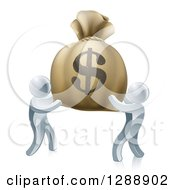 Poster, Art Print Of 3d Silver Men Carrying A Large Dollar Money Bag