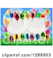 Clipart Of A Blank White Sign Framed In Colorful 3d Happy Birthday Balloons Over Grass And Blue Sky Royalty Free Vector Illustration