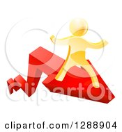 Clipart Of A 3d Gold Man Running On A Red Growth Arrow Royalty Free Vector Illustration