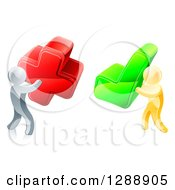 Clipart Of 3d Right And Wrong Silver And Gold Men With X And Check Marks Royalty Free Vector Illustration