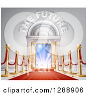 Clipart Of 3d The Future Text Over Open Doors Posts And Red Carpet Royalty Free Vector Illustration by AtStockIllustration