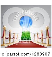 Clipart Of 3d The Future Text Over A Keyhole Door Posts And Red Carpet Royalty Free Vector Illustration by AtStockIllustration