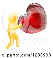 Clipart Of A 3d Gold Man Holding A Red Valentine Heart Royalty Free Vector Illustration