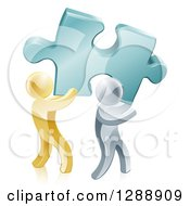 Clipart Of 3d Gold And Silver Men Carrying A Large Turquoise Solution Puzzle Piece Royalty Free Vector Illustration