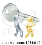 Clipart Of 3d Gold And Silver Men Carrying A Giant Key Royalty Free Vector Illustration