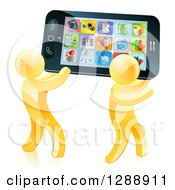 Clipart Of 3d Gold Men Carrying A Giant Smart Cell Phone With App Icons On The Screen Royalty Free Vector Illustration