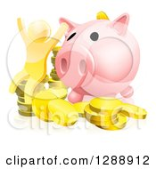 Clipart Of A 3d Cheering Successful Gold Man With Coins And A Giant Piggy Bank Royalty Free Vector Illustration