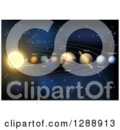 Clipart Of A 3d Diagram Of Planets In Our Solar System And Their Names Royalty Free Vector Illustration