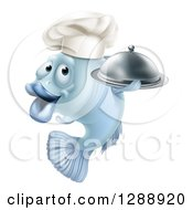 Clipart Of A Cartoon Blue Chef Fish Holding A Cloche Platter Royalty Free Vector Illustration by AtStockIllustration