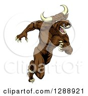 Clipart Of A Muscular Aggressive Brown Bull Man Mascot Running Upright Royalty Free Vector Illustration