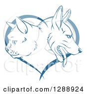 Clipart Of Blue Cat And Dog Faces In Profile Over A Heart Royalty Free Vector Illustration