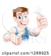 Clipart Of A Happy Brunette Middle Aged White Male Electrician Giving A Thumb Up And Holding A Light Bulb Over A Sign Royalty Free Vector Illustration