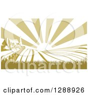 Clipart Of A Sunrise Over A Green Silhouetted Farm House And Fields Royalty Free Vector Illustration