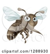 Clipart Of A Mean Mosquito Flying To The Right Royalty Free Vector Illustration by AtStockIllustration