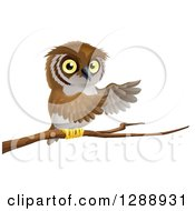 Clipart Of A Perched Owl Presenting With His Wings From A Tree Branch Royalty Free Vector Illustration