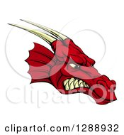 Clipart Of A Snarling Angry Red Dragon Head With Horns Royalty Free Vector Illustration by AtStockIllustration