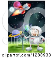 Happy Caucasian Male Astronaut Planting An Earth Flag On A Foreign Planet In Outer Space With A Rocket Flying Above