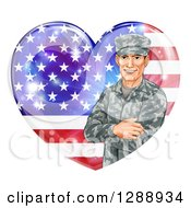 Clipart Of A Happy Caucasian Male Military Veteran Over An American Flag Heart And Flares Royalty Free Vector Illustration by AtStockIllustration
