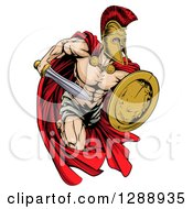 Clipart Of A Strong Spartan Trojan Warrior Mascot Running With A Sword And Shield Royalty Free Vector Illustration