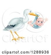 Clipart Of A Stork Bird Holding A Happy Baby Boy In A Blue Bundle Royalty Free Vector Illustration by AtStockIllustration
