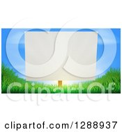 Clipart Of A Blank White Sign Posted Against A Sunrise In A Blue Sky On Grassy Green Hills Royalty Free Vector Illustration by AtStockIllustration