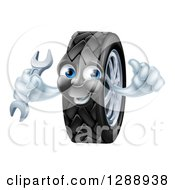Clipart Of A Happy Tire Character Holding A Thumbs Up And A Wrench Royalty Free Vector Illustration