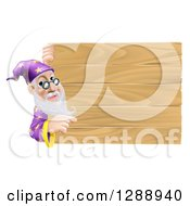Senior Male Wizard Pointing Around A Plank Wooden Sign