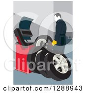 Clipart Of A Male Mechanic Garage Worker Preparing A New Set Of Tires Royalty Free Vector Illustration by David Rey