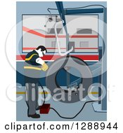 Clipart Of A Male Mechanic Garage Worker Repairing A Tire Royalty Free Vector Illustration by David Rey