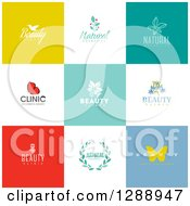 Clipart Of Flat Design Beauty Business Logo Icons With Text On Colorful Tiles 2 Royalty Free Vector Illustration