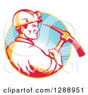 Clipart Of A Retro Male Coal Miner In Profile Holding A Pickaxe In A Yellow And Blue Circle Of Sunshine Royalty Free Vector Illustration