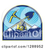 Clipart Of A Retro Miner Hardhat With A Crossed Shovel And Pickaxe Over Snow Capped Mountains In A Forest And Sunshine Arch Royalty Free Vector Illustration by patrimonio