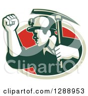 Clipart Of A Retro Male Coal Miner Holding Up A Fist And A Pickaxe In A Green White And Red Oval Royalty Free Vector Illustration