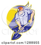 Clipart Of A Retro Male Coal Miner Digging With A Spade Shovel With Light Shining From His Helmet In A Yellow And Purple Circle Royalty Free Vector Illustration by patrimonio