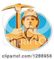 Clipart Of A Retro Male Coal Miner Holding Up A Pickaxe In A Gray And Blue Circle Of Sunshine Royalty Free Vector Illustration