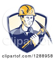 Clipart Of A Retro Male Coal Miner Holding A Pickaxe In A Blue And Pastel Yellow Sunshine Shield Royalty Free Vector Illustration by patrimonio