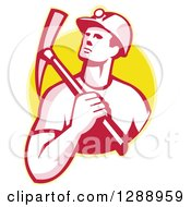 Clipart Of A Retro Male Coal Miner Holding A Pickaxe Over His Shoulder In A Yellow Circle Royalty Free Vector Illustration