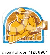 Clipart Of A Retro Male Cameraman Working In A Blue White And Orange Sun Ray Arch Royalty Free Vector Illustration