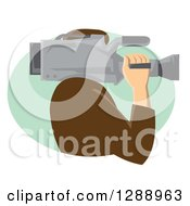 Clipart Of A Side View Of A Retro Male Cameraman Working In A Green Oval Royalty Free Vector Illustration