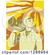 Clipart Of A Retro Male Cameraman Holding A Camera On His Shoulder Under A Blazing Sun Royalty Free Vector Illustration