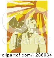 Retro Male Cameraman Holding A Camera On His Shoulder Under A Blazing Sun