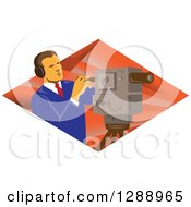 Clipart Of A Retro Male Cameraman Working In A Diamond Of Rays Royalty Free Vector Illustration