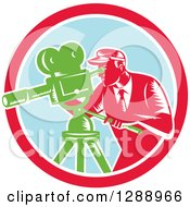 Clipart Of A Retro Woodcut Male Cameraman Working In A Red White And Pastel Blue Circle Royalty Free Vector Illustration