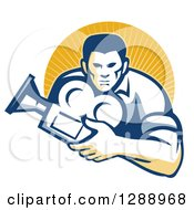 Clipart Of A Retro Male Cameraman Holding A Camera And Emerging From A Circle Of Sunshine Royalty Free Vector Illustration